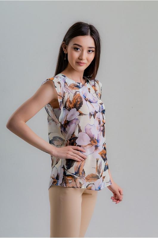 Блуза из шифона с цветочным принтом