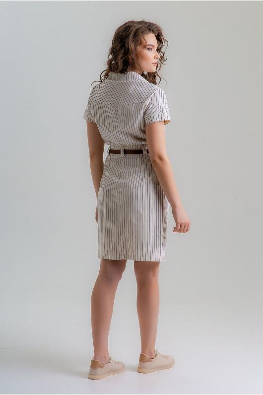 Платье из натуральной ткани в мелкую полоску