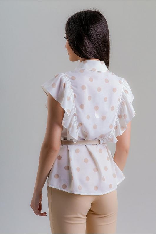 Блуза с рюшами впереди на кожаном ремешке
