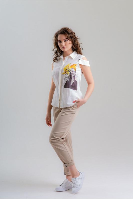 Рубашка пуговицах со спущенным плечиком