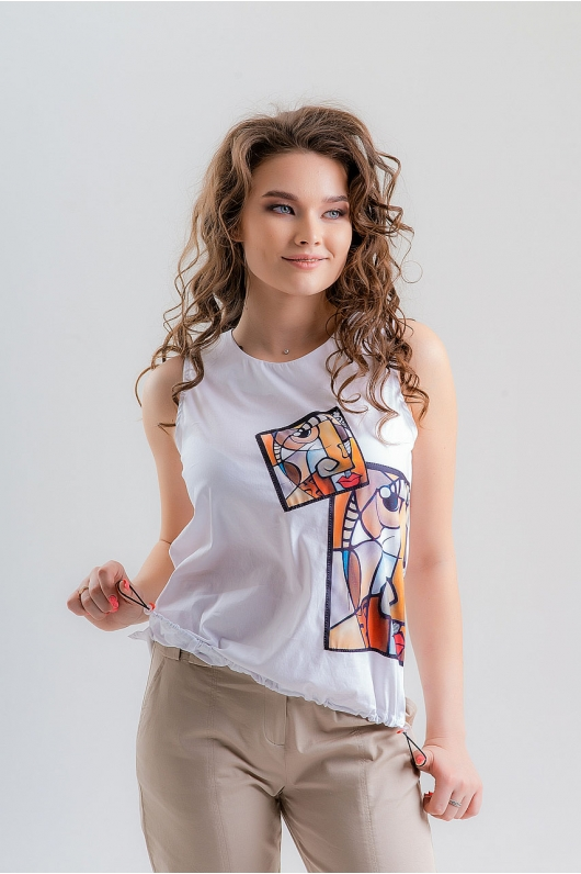 Блуза  на резинке по низу
