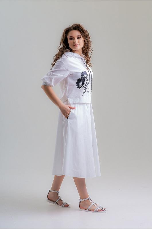 Костюм-юбочный из натуральной ткани