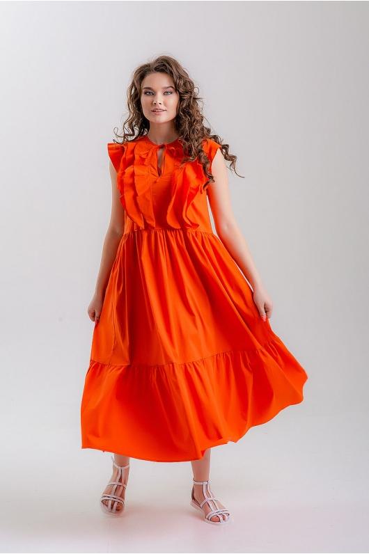 Коралловое платье с воланами впереди