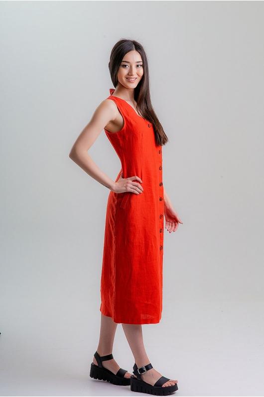 Платье с линией запаха из натуральной ткани