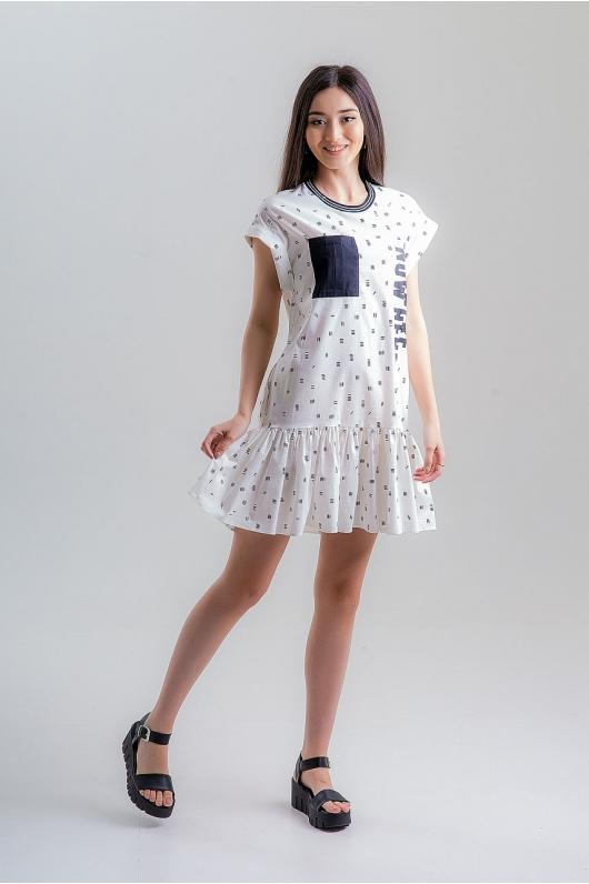 Платье спортивного плана с воланом по низу