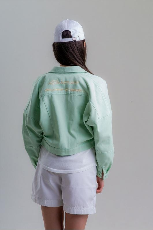 Укороченная куртка из плотного катона