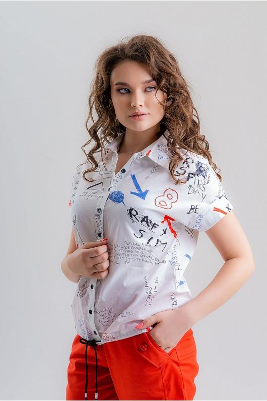 Рубашка с  надписями на пуговицах