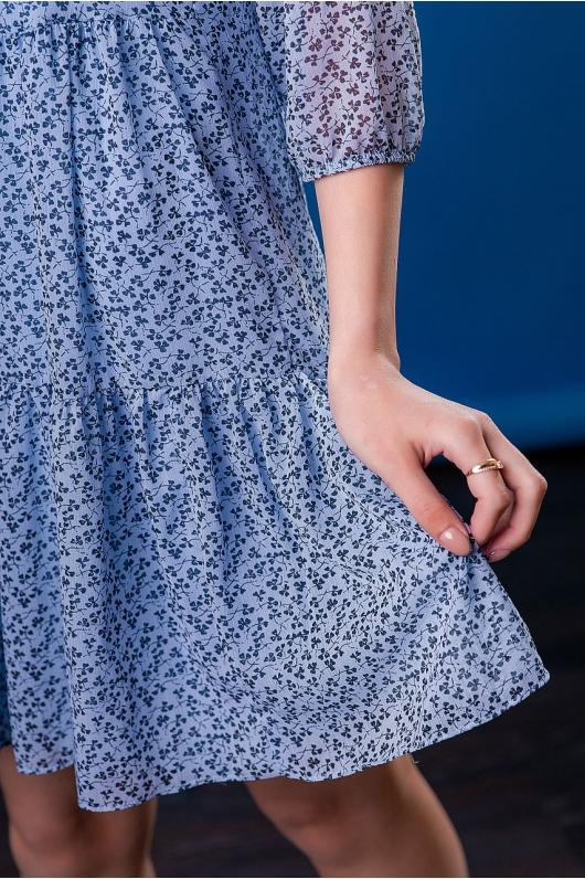 Платье шифоновое с декоративным принтом