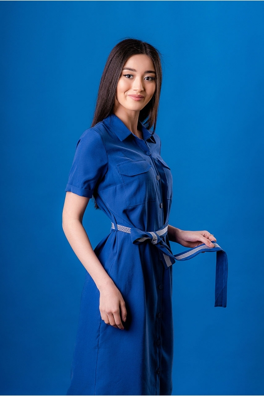 Платье-рубашка на поясе