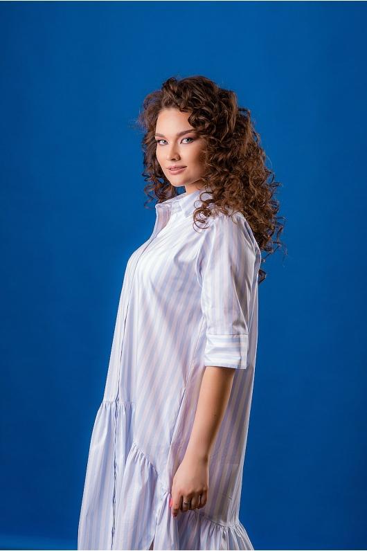 Платье-рубашка с крупным валяном по низу