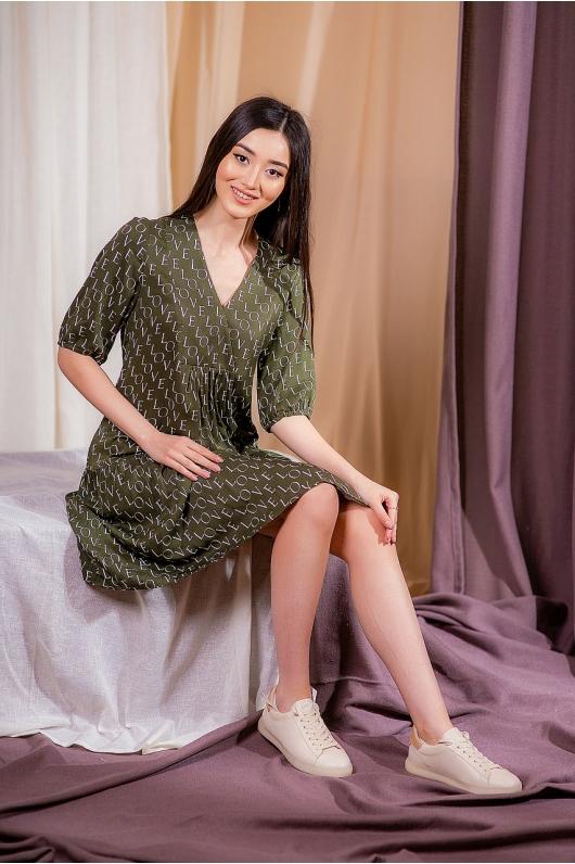Платье расклешенное от груди с декоративным и буквами