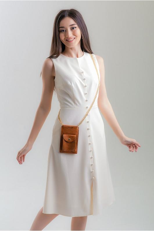 Платье длины миди с декоративными пуговицами впереди