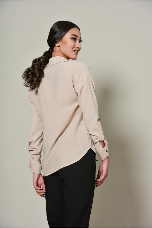 Блуза из шифона с накладным карманом
