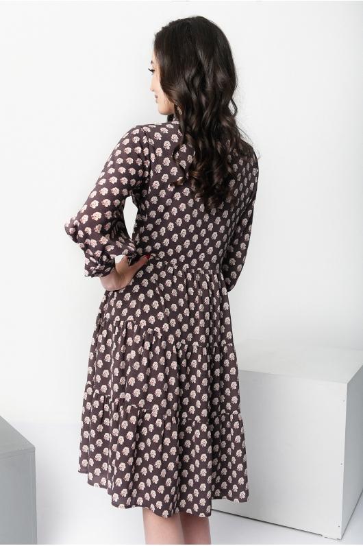 Платье свободного кроя  с декоративным узором