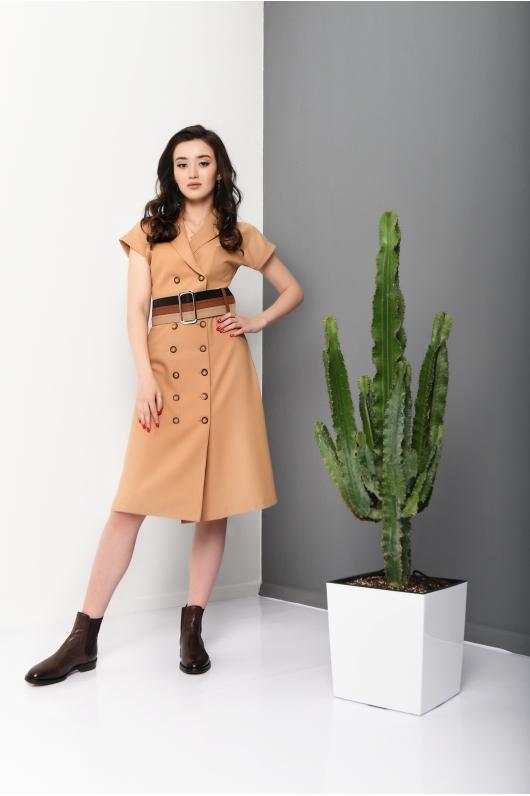 Платье -сафари с широким поясом