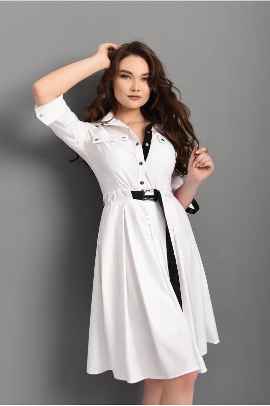 Расклешённое  платье от пояса с декоративной спинкой