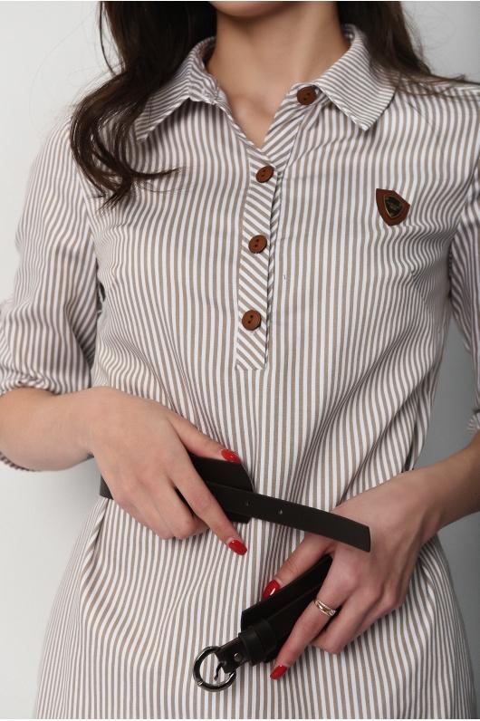 Платье-рубашка в вертикальную полоску с поясом