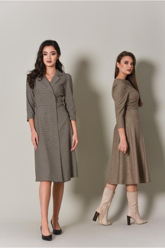 Платье с V- образным вырезом, длина миди