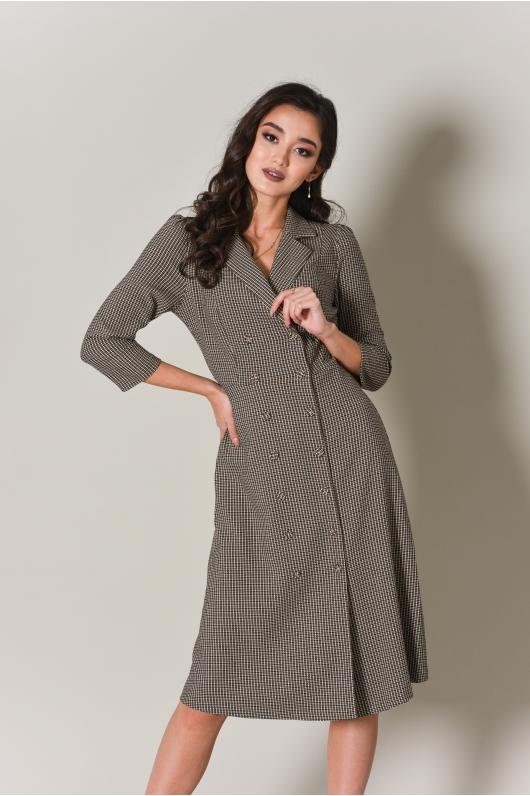 Платье двубортное, длина миди