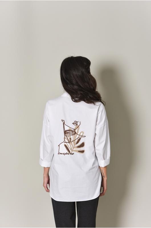 Рубашка свободного кроя с  накладным карманом
