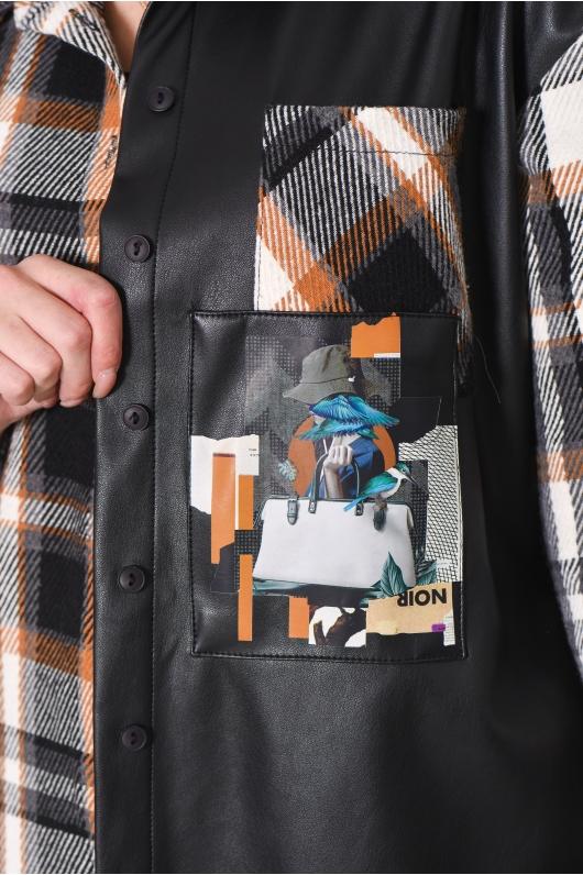 Рубашка в клетку с элементами кожи