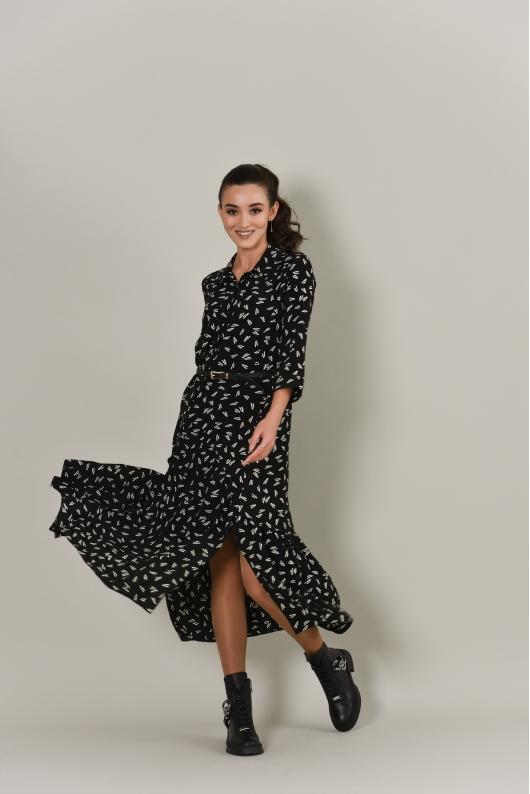Платье в длине миди из струящейся ткани