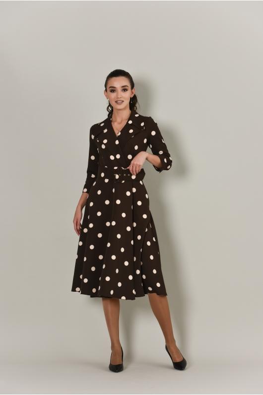 Платье в крупный горох с отложным воротником