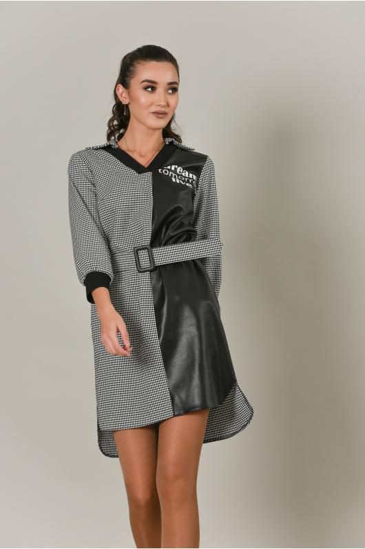 Платье разной длины с кожаными элементами