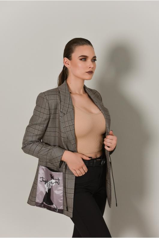 Жакет удлиненный с принтом на кармане
