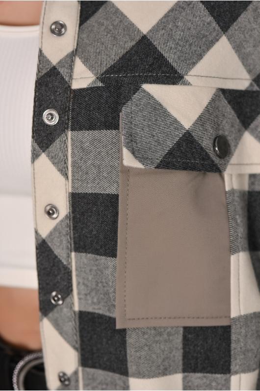 Рубашка в крупную клетку с кожаными элементами
